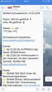 Whatsapp-bericht van de SkiWelt