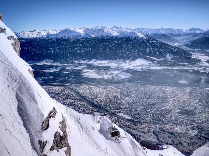 Vanaf de Nordkette heb je een schitterend uitzicht op de stad Innsbruck.