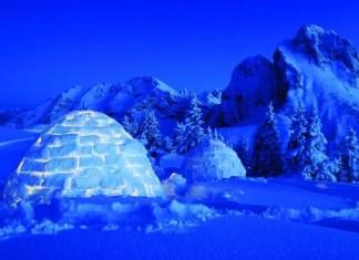 Overnachten in een zelfgebouwde iglo bron: pfronten.de