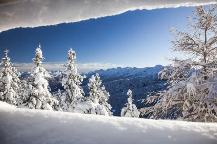 Een dik pak sneeuw, in combinatie met een blauwe lucht en heerlijk zonnetje. Dit is optimaal genieten. Foto: L. Morandini