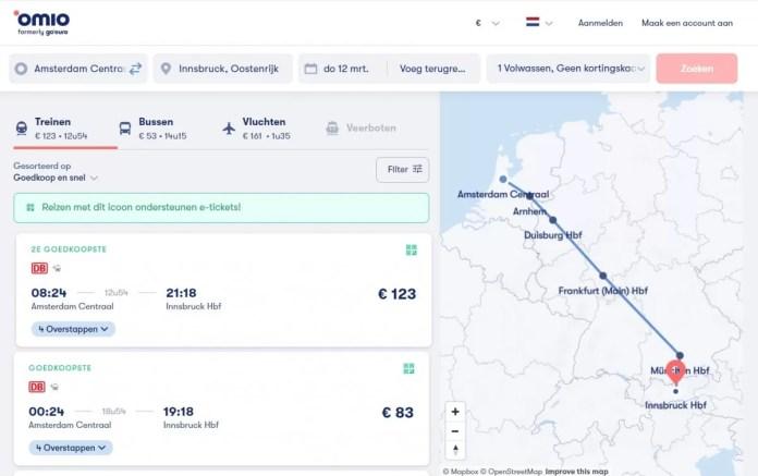 Omio geeft je opties met trein, bus en vliegtuig. Zie Omio.nl