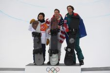 (L-R) Ayumu Hirano of Japan, Shaun White of the USA and Scotty James of Australia stand on the podium after winning the silver, gold and bronze medals in the Men's Snowboard Halfpipe Final, at Phoenix Snow Park during the PyeongChang 2018 Winter Olympic Games, in PyeongChang, South Korea, Wednesday, February 14, 2018. (AAP Image/Dan Himbrechts)