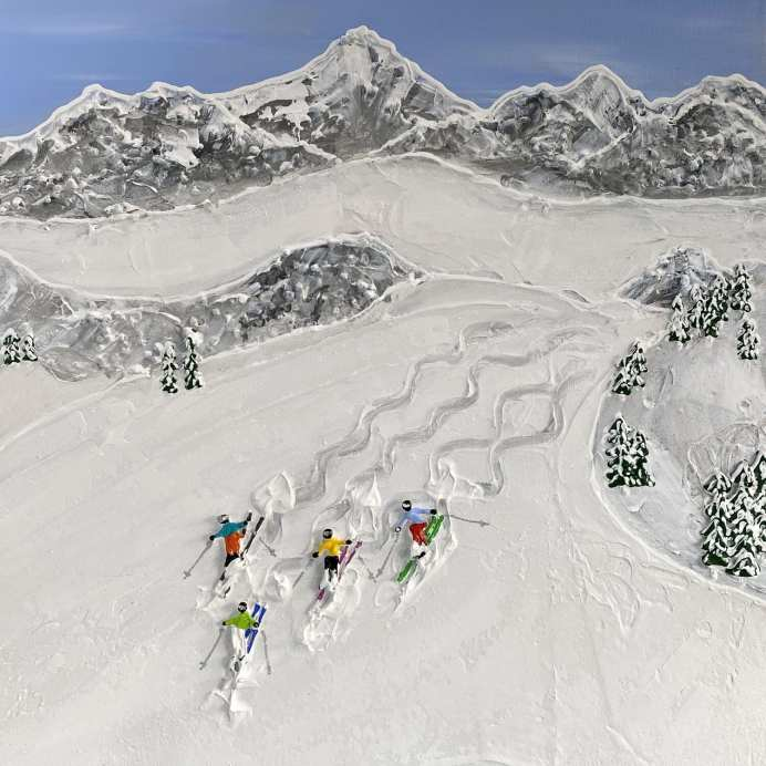 """""""Just Us on the Slopes"""" by Elizabeth Langreiter. Hand Sculpted Mixed Media Painting on Canvas ."""