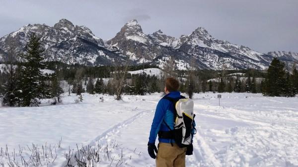 Snowshoeing in the Tetons with the Motion 35 backpack by Klymit. (Photo by Brad Christensen.)