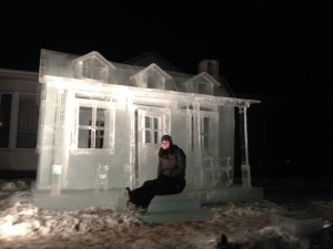 Sitting on the porch of the Ice Sculpture House
