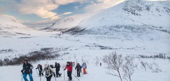 Snowshoeing on Kvaløya Island