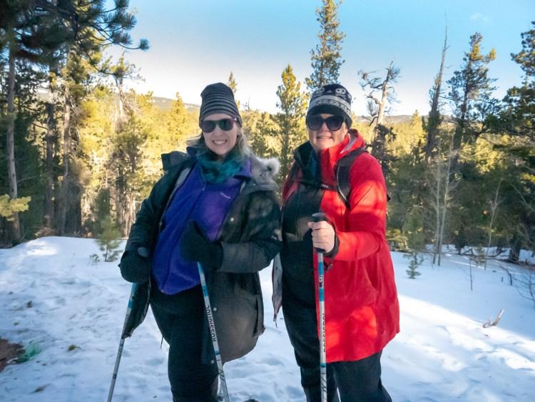 Kara Richardson-Whitely & Arwen Turner at the WNDRoutdoors snowshoeing event