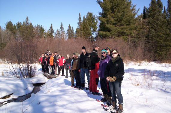 group of students in snowshoeing course