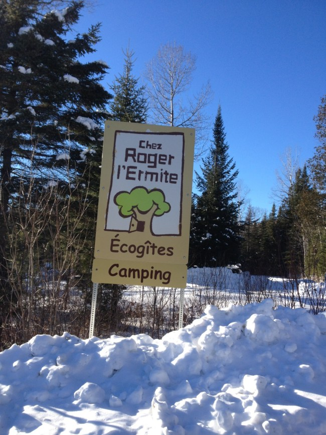 sign at Roger l'Ermitre Ecolodge Camping