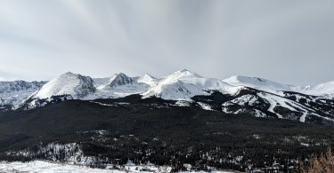 bright, cloudy sky with mountain in background, Breckenridge CO