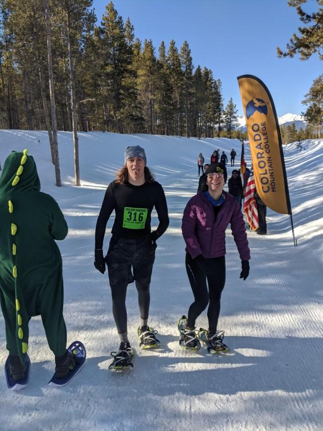 snowshoe racers after race wearing Atlas snowshoes