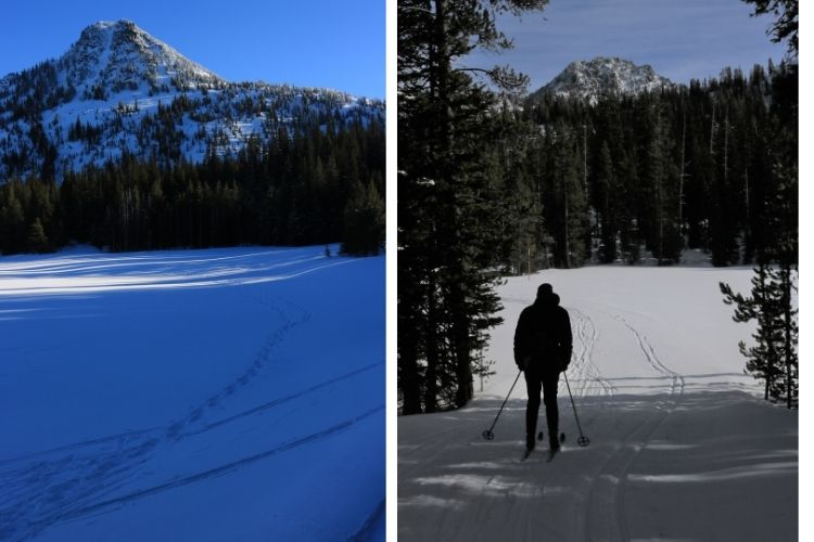 Anthony Lakes snowshoeing: side by side of Gunsight Mountain in winter and skier taking in view of the Elkhorn Mountains