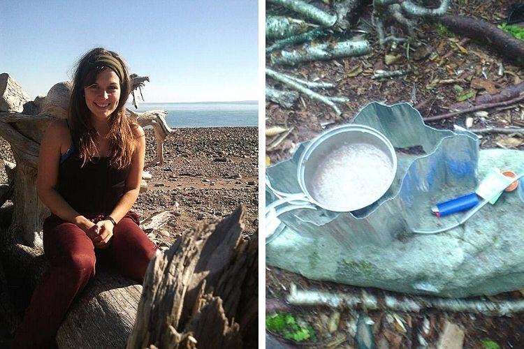camping in maritime provinces: side by side L: solo backpacker Kate Trecartin R: camping stove
