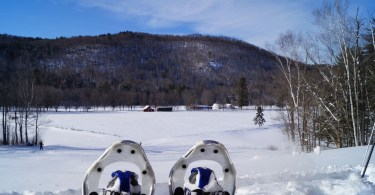 snowshoes in front of Bear Mountain, Vermont