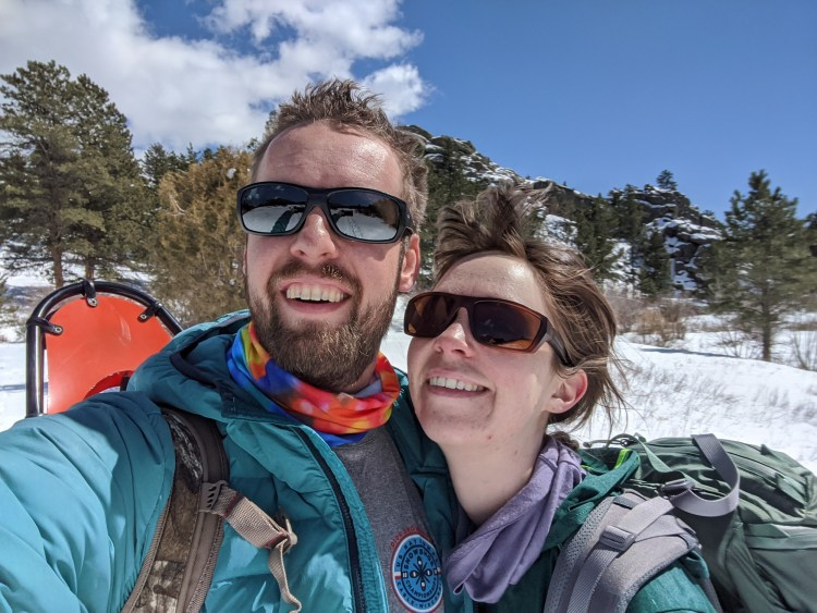 windy selfie on snowshoe outing