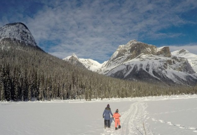 woman and child snowshoeing Emerald Lake BC