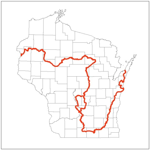 map of the Ice Age Trail across Wisconsin