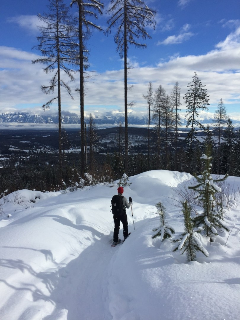 snowshoeing in Kimberley BC with mountain view