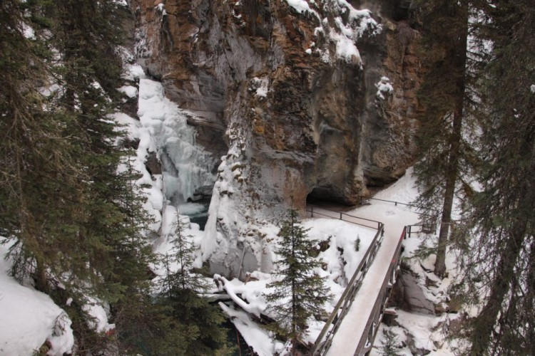view of lower falls and walkways at Johnston's Canyon, Banff