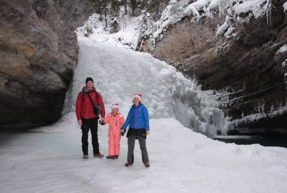 In Johnston Canyon at the secret waterfall below the Upper Falls