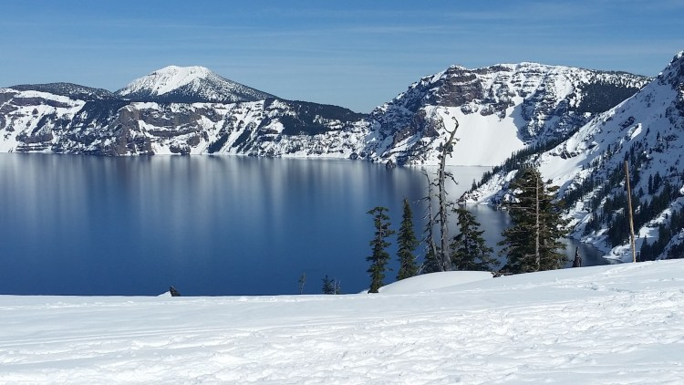 Mt Scott above Crater Lake in winter
