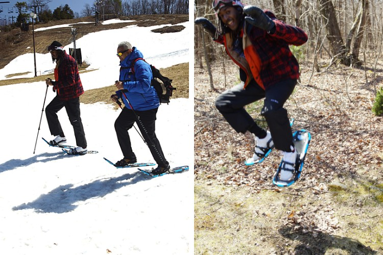 side by side: two men walking on snowshoes, man jumping in the air on snowshoes