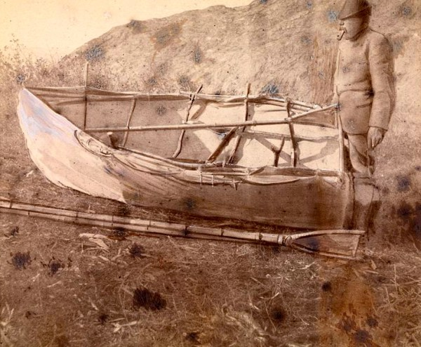 Nansen Greenland expedition: man with canvas boat used to row to Nuuk