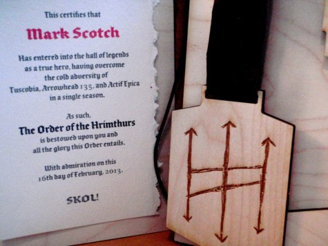 The Order of the Hrimthurs awarded to Mark Scotch
