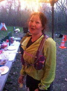 Merry Maureen Montello heading to the finish for her 100 miles