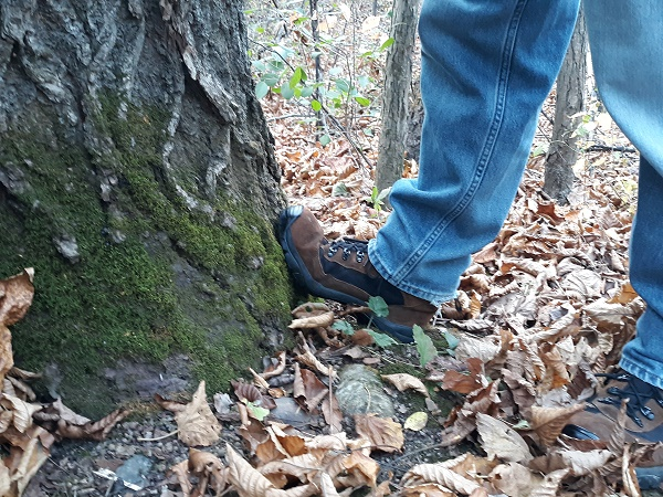 close up on heel drop wall stretch on a tree