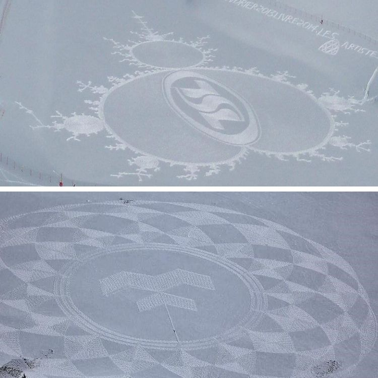 top and bottom : 2 snow drawings by snow artist Simon Beck