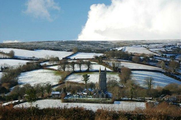 Snow on Dartmoor, England