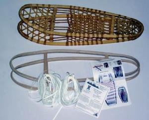 snowshoe kit - wooden frame laces, directions