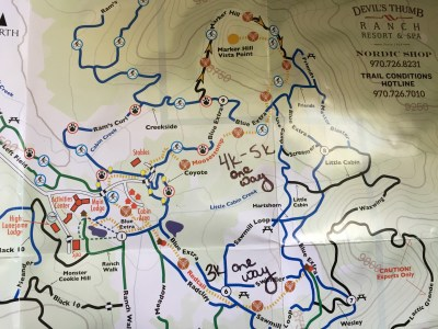 Winter trail map at Devil's Thumb Ranch. Photo by Kim Fuller.
