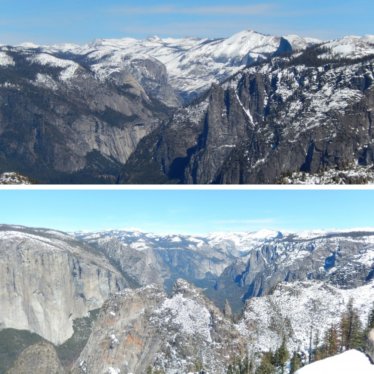 combo photo: views of Yosemite Valley from Dewey Point, CA