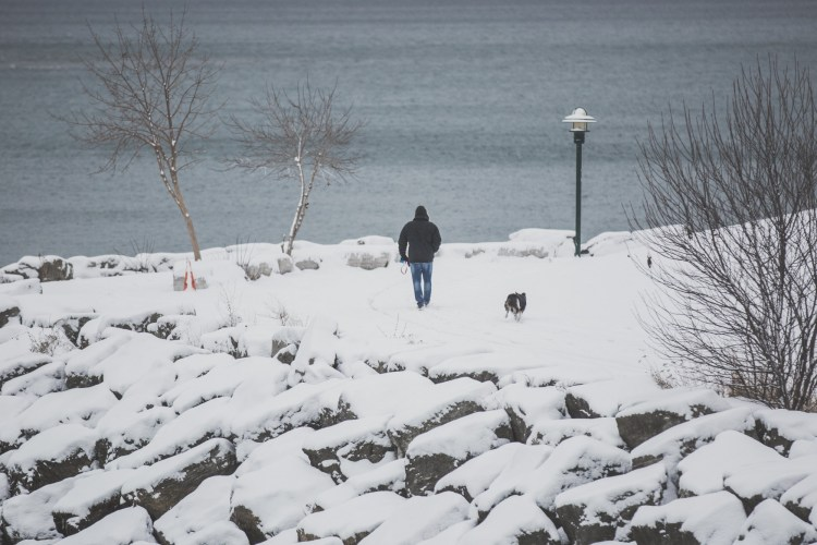 outdoor adventure ideas: man-walking-dog-in-snow