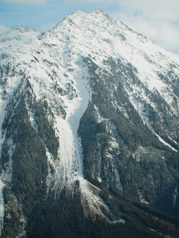 avalanche path on mountains