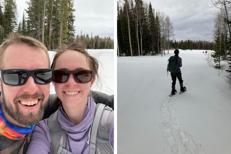 side by side - left: selfie of authors, right: woman snowshoeing toward open vista