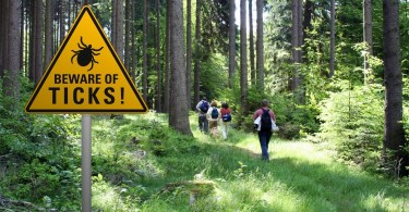sign warning of ticks in grassy area with hikers in background