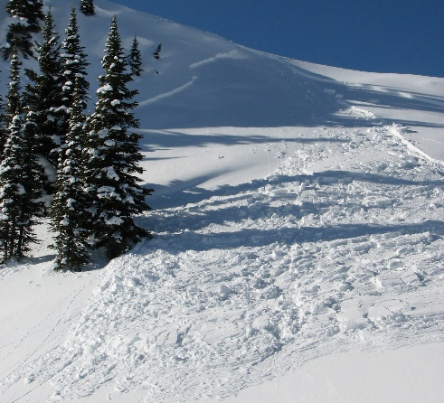 snow with crack, snowshoeing avalanche safety