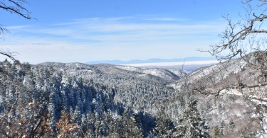 view of White Sands National Park from trail near Cloudcroft NM