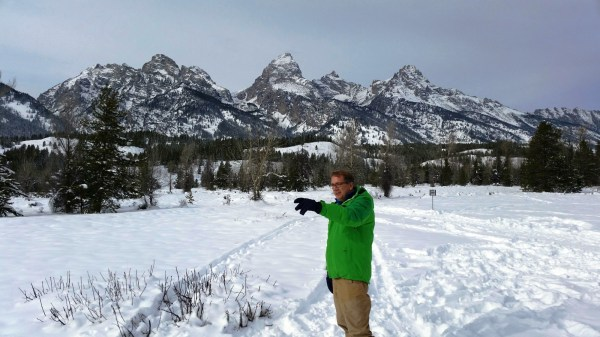 Wearing the Dare2B Intend Club jacket while enjoying a snowshoeing jaunt in the Tetons. (Photo by Brad Christensen.)