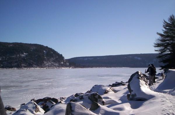 Like snowshoeing through a giant diamond field along Devil's Lake west shore.