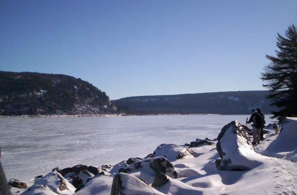 Like snowshoeing through a giant diamond field along Devil's Lake west shore.