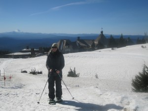 Snowshoeing back down towards Timberline Lodge
