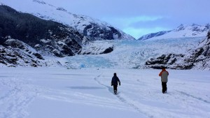 Mendenhall Glacier takes up the entire landscape near Juneau, Alaska.