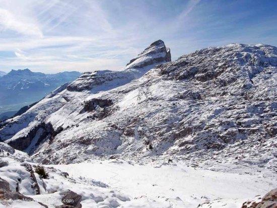 On top of the Tour du Famelon looking over to the Tour du Mayen, Leysin, Swiss Alps