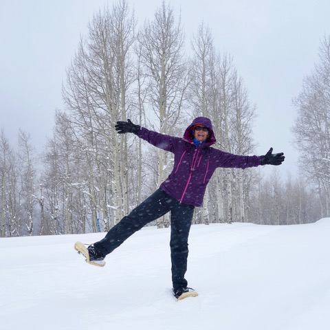 having fun on snowshoes at McCoy Park, Beaver Creek Mountain