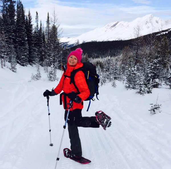 Choosing to snowshoe on a snowmobile packed trail