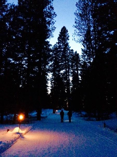 Sunset snowshoe at Ponderosa State Park.